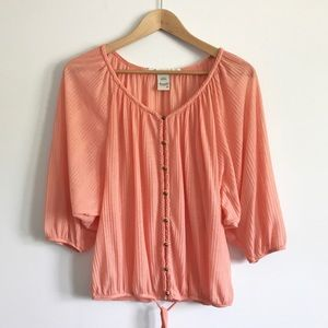 Coral Button Front Blouse - Relaxed Fit - Small